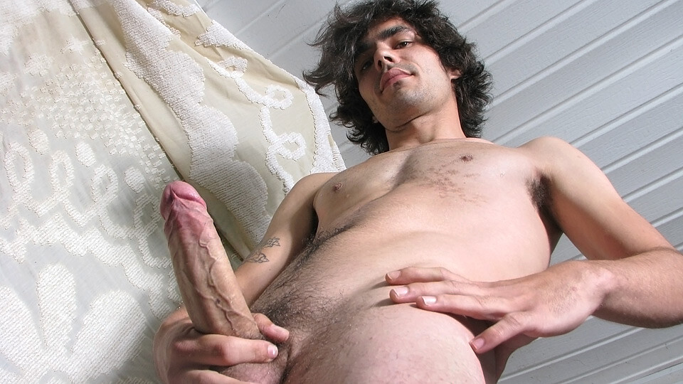Long hair young boy posing and pissing on  self before camera tube video