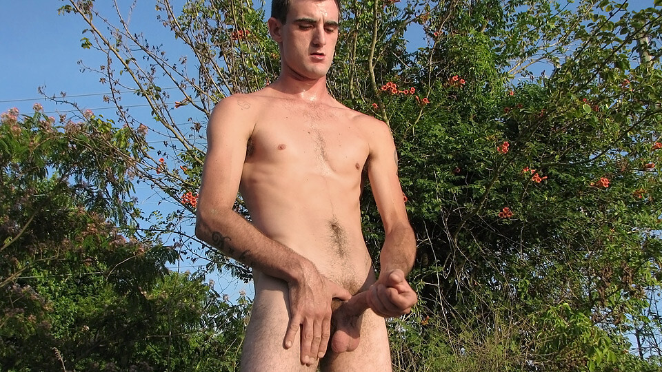 Young boy jerking and pissing outdoor free tube video