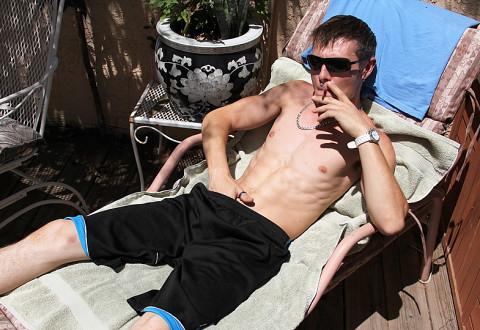 Hung Uncut Stroking In The Sun Adam Hess